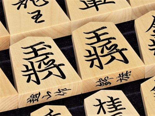 将棋駒 越山作 彫駒 島つげ 錦旗   (送料無料)