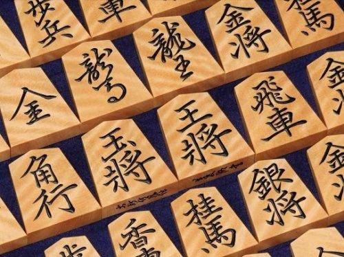 将棋駒 竹風作 盛上 御蔵島産黄楊 虎斑 菱湖書 (送料無料)