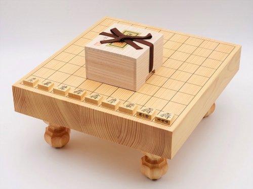 卓上-足付兼用将棋・駒 本つげ 昇竜彫セット  (送料無料)