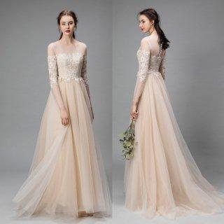 刺繍 長袖 シャンパン カラードレス(W35)