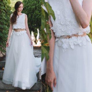 フラワーレース 刺繍 ツーピース セパレートドレス(W49)