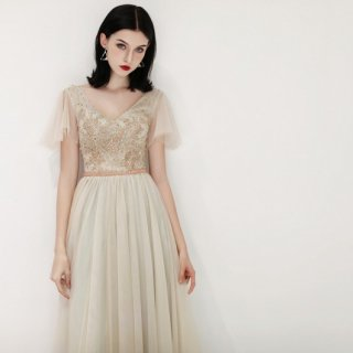 フレア袖 刺繍 シャンパングレー カラードレス(W149)