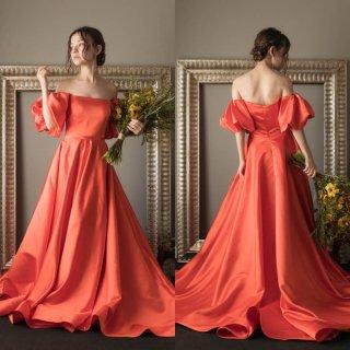 オフショルダー ボリューム袖 オレンジ サテンドレス(W220)