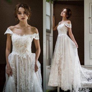 オフショルダー フラワーレースドレス(W231)