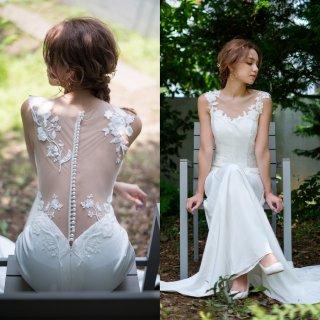 刺繍レース サテン ソフトマーメイドドレス(W224)