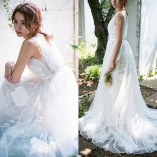 花柄刺繍 Aラインドレス(W223)