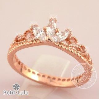 リング 指輪 レディース 最高級スワロフスキー ティアラ 姫 プリンセス 王冠 エレガント ロマンティック k18 18金RGP 18k 2色展開