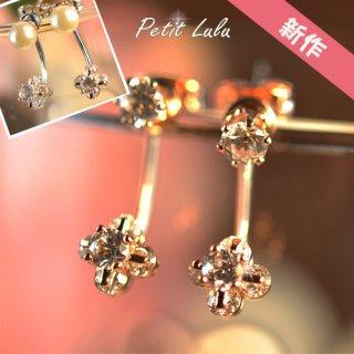 ピアス レディース アクセサリーバックキャッチ フープ揺れる フラワー パール 真珠 ビジュー  一粒ダイヤ 可憐に咲く四枚花 スワロフスキー 18KRGP 4タイプ展開