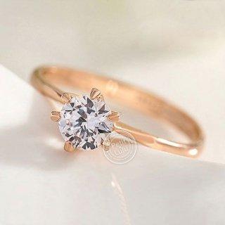 指輪 レディース  リング 華奢 6本爪 一粒 ダイヤモンドCZ 18K 18金RGP
