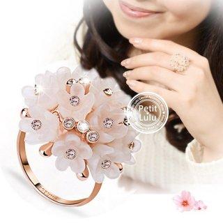 指輪 レディース リング さくら 小花 桜 薄いピンク スワロフスキー 18K 18金RGP ピンクゴールド