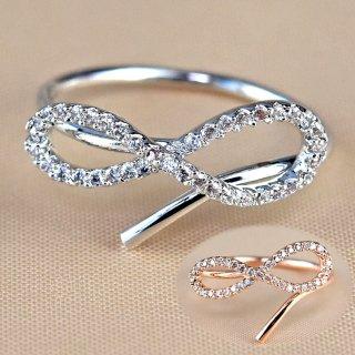 指輪 レディース リング ダイヤモンドCZ メビウスの輪 永遠の絆 18金RGP 2色展開