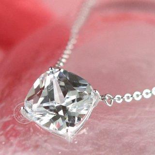 ネックレス レディース ダイヤモンドCZ プラチナ仕上げ シルバー925 プリンセスカット 一粒 最高級スワロフスキー