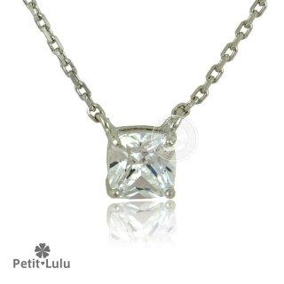 ネックレス レディース ダイヤモンドCZ プラチナ仕上げ シルバー925 プリンセスカット スクエア 一粒 シンプル 最高級スワロフスキー