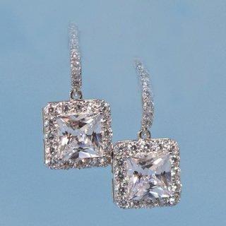 ピアス レディース ダイヤモンドCZ プラチナ仕上げ シルバー925 フリンジ フープ プリンセスの輝き スクエア型 最高級スワロフスキー