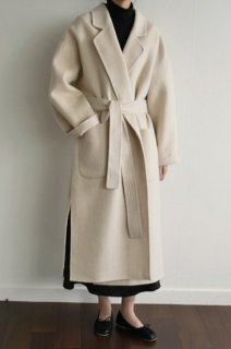 アルパカ20%<br>loose fit<br>hand made alpaca coat</br>ivory
