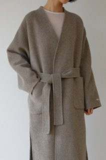 <font color=pink>*再入荷*</font><br>wool 90%<br>hand made no collar coat<br>gray brown