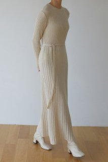 flared maxi<br>wool knit one piece<br>ivory