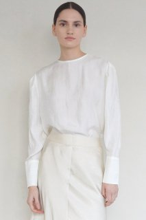 round neck<br>puff sleeve blouse<br>3colors
