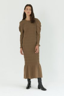 shirring pleats one piece<br>khaki brown
