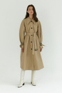 vegan leather trench coat<br>beige
