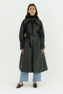 vegan leather trench coat<br>black