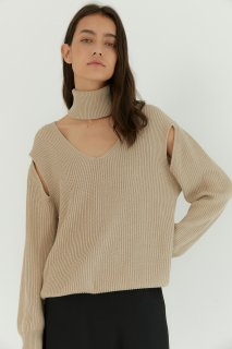slit open knit<br>beige