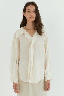 sheer flared blouse<br>ivory, pink