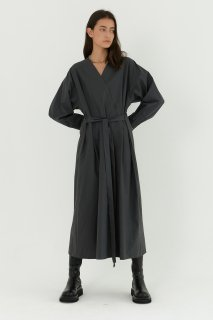 cotton v wrap<br>maxi one piece<br>charcoal