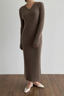 v neck rib knit<br>maxi one piece<br>4colors