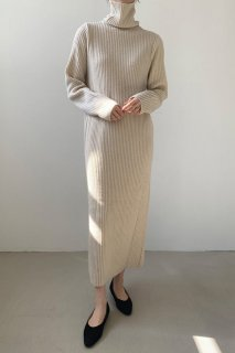 rib high neck<br>knit maxi one piece<br>5colors