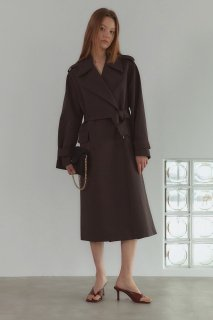 double button<br>trench coat<br>cocoa