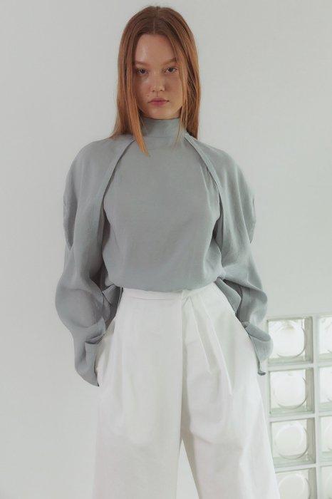back ribbon<br>volume sleeves blouse<br>4colors