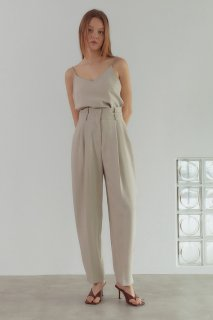 double waist pants<br>light beige