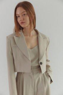stitch<br>mannish short jacket<br>light beige
