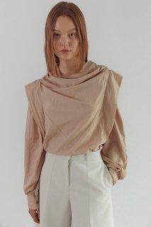 edge shoulder<br>drape blouse<br>dusty pink,cream