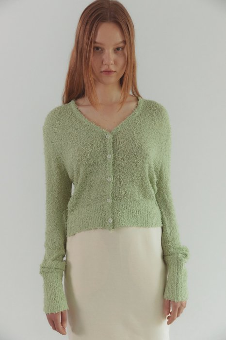 boucle short cardigan<br>soft green