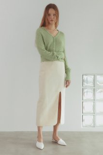 round slit linen skirt<br>ivory