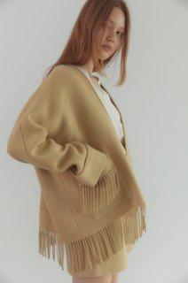 fringe jacket cardigan<br>butter yellow
