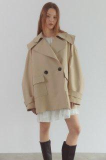 double collar trench coat<br>beige