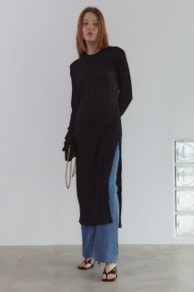 power shoulder<br>slit knit one piece<br>gold beige,black