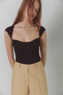 square neck knit tops<br>black