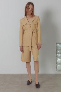 classic safari belt jacket<br>chamomile