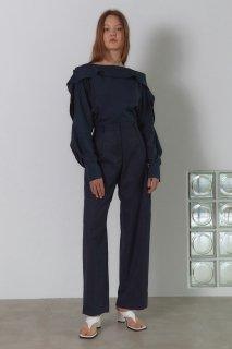 unbalanced<br>pocket tuck pants<br>navy