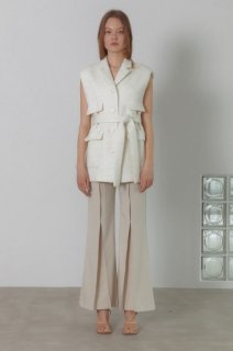 pointed stitch flare pants<br>cream