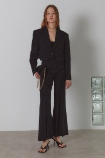 pointed stitch flare pants<br>black