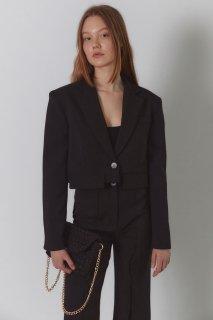 edge pocket short jacket<br>black