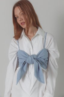 ribbon bustier<br>yellow beige,blue