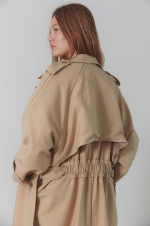 smoked back over fit<br>stitch trench coat<br>beige