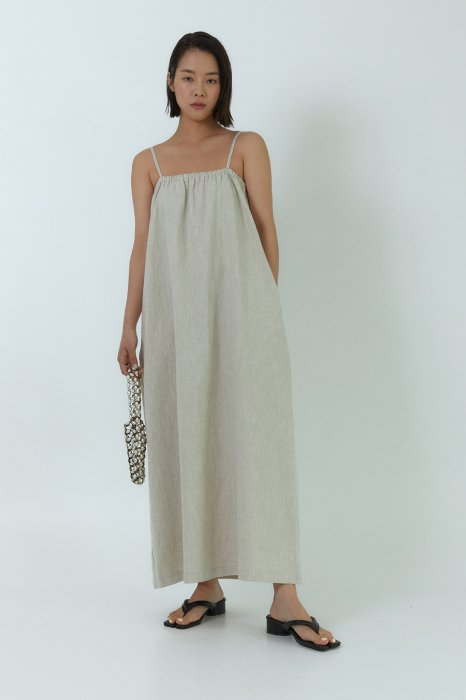linen 100%<br>minimal maxi one piece<br>oatmeal, brown