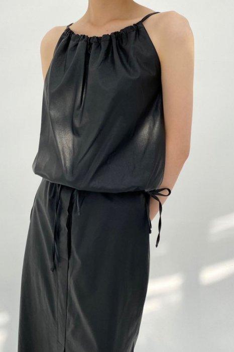 faux leather string tops<br>beige, black